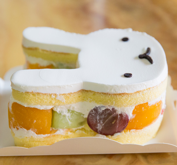 close-up photo of the side of the bunny cake