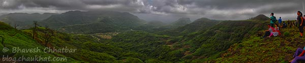 Beautiful Panorama HDR Photo with Spectators, taken on Tamhini Ghat Trek