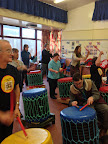 Alison banging on her drum at the Eastham Centre