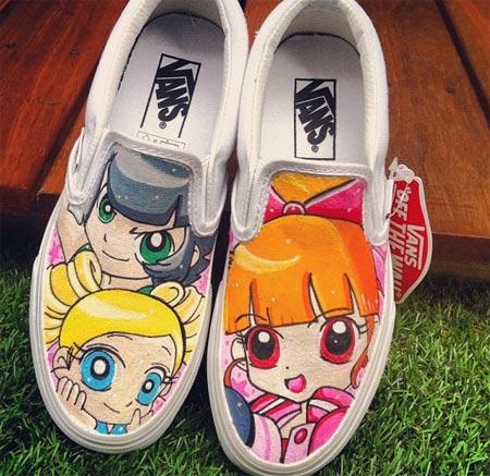 Tênis Vans customizados com personagens de desenhos animados - As Meninas Super Poderosas