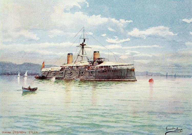 El crucero acorazado CRISTOBAL COLON fondeado. Acuarela de Hernández Monjo. Del libro La Armada Española.JPG