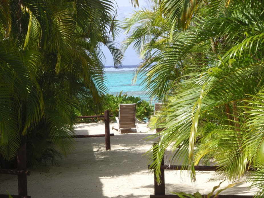 Beach from Rarotonga Beach Bungalows