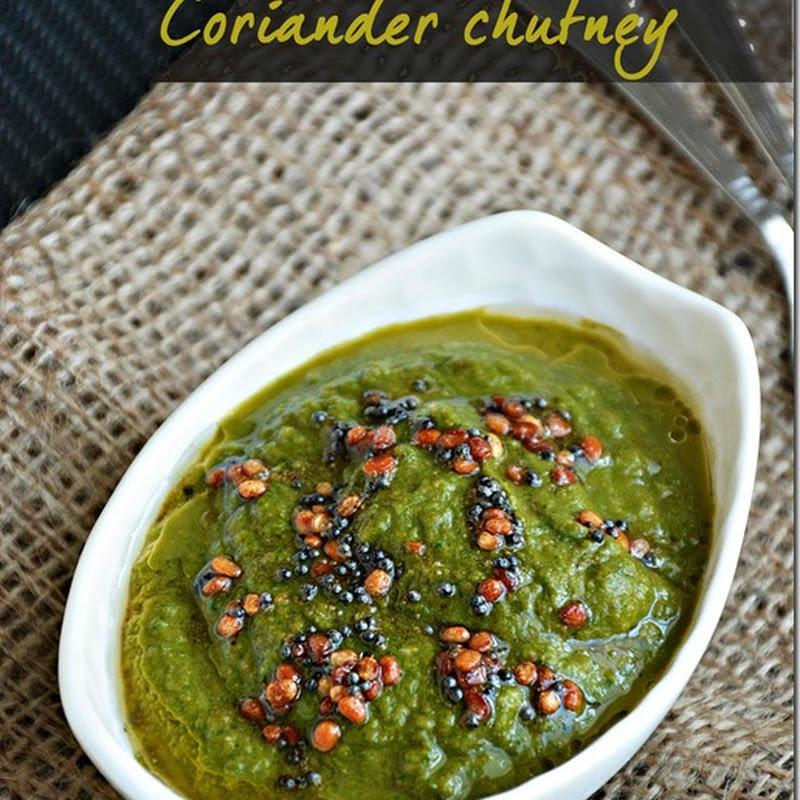 Coriander chutney / Coriander chutney with moong dal / Kothamalli chutney without coconut