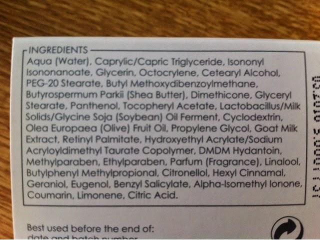 ingredientes crema leche de cabra ziaja