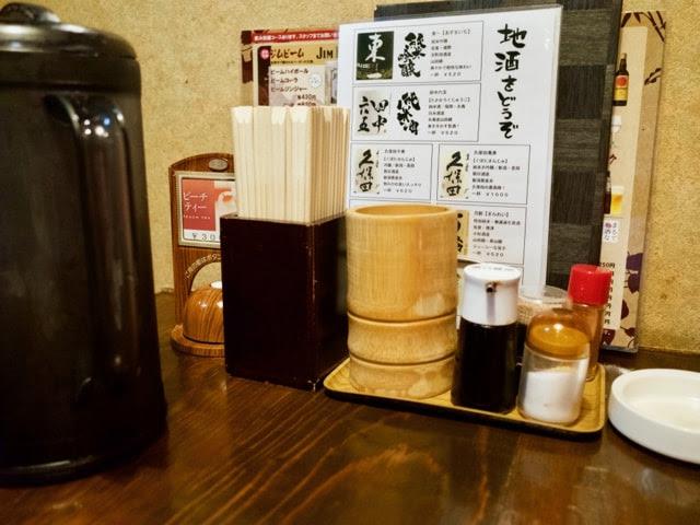 テーブル上の調味料とメニュー