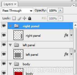 Group the left and right panel layers.