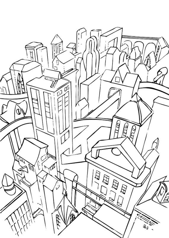 Pinto Dibujos: Ciudad para colorear