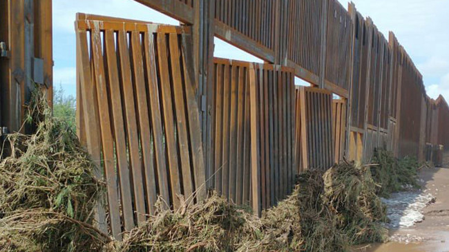 Trump's border wall already falling apart after floods (Photos)