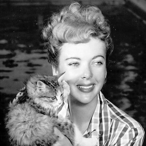 Ida Lupino and a cat