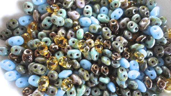 Turquoise and Topaz SuperDuo Bead Mix