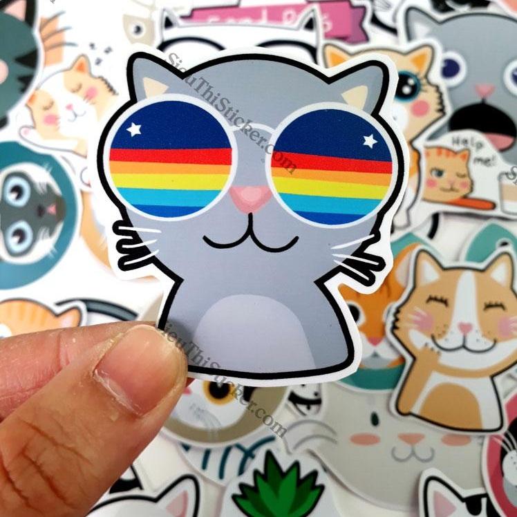 miếng dán mèo đeo kính dễ thương