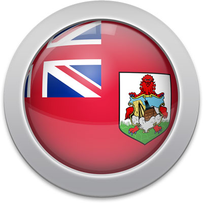 Bermudian flag icon with a silver frame
