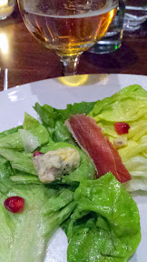 Escarole Salad with Cashel Irish blue, pomegranate, prosciutto and shallot vinaigrette for the Raven and Rose and Goose Island Brewers' Dinner Series event on December 7, 2014
