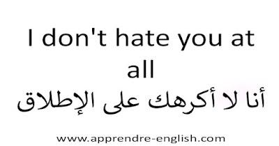 I don't hate you at all أنا لا أكرهك على الإطلاق