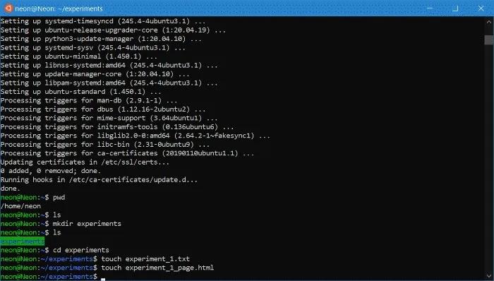 Wsl ابدأ تصفح Ubuntu قم بإنشاء