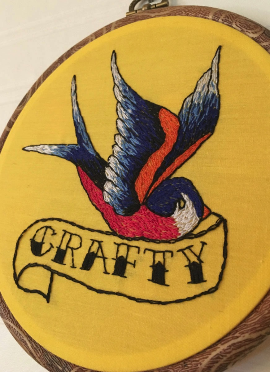 Crafty american traditional swallow embroidery