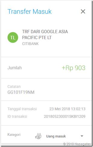 Google Transfer Sejumlah Uang Untuk Verifikasi Rekening