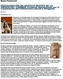 30-11-2013RESTAURACIÓN DE ANTIGUA IMAGEN DE LA VIRGEN DEL CARMEN.