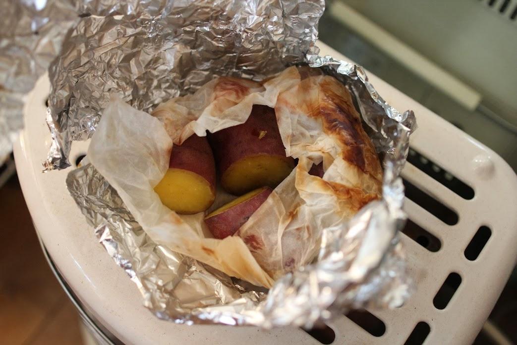 ガスストーブで焼き芋(作り方つき)