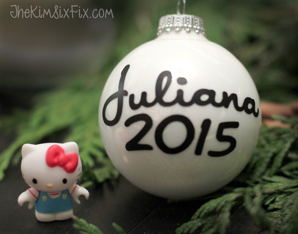 The perfect Hello Kitty Font on Ornament (made with vinyl on my Silhouette Cameo)