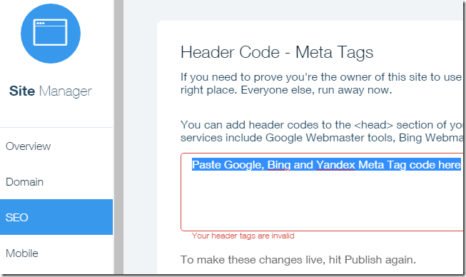Wix Header Code - Meta Tags