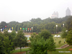 A blurry shot of Piedmont Park before the race as we walked to the MARTA station.