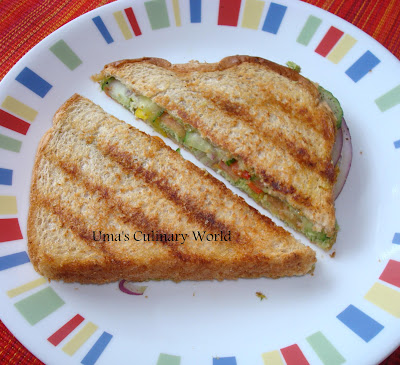desi grilled Vegan or veg Sandwich