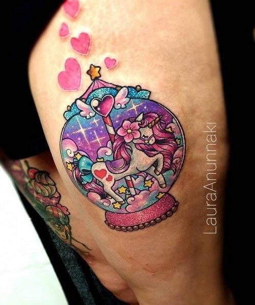 este_adorvel_globo_de_neve_unicrnio_kawaii_tatuagem