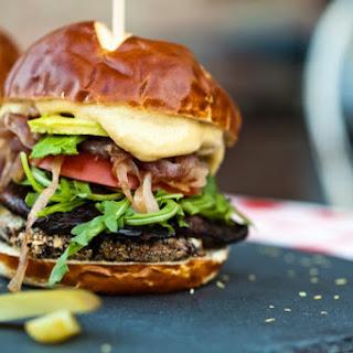 Smoky Portobello Black Bean Burger With Roasted Garlic Aioli.