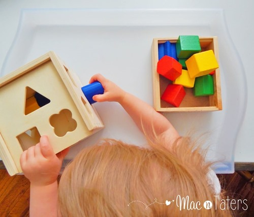 The Melissa & Doug Shape Sorter is the perfect tot tray activity for learning and practicing shapes.