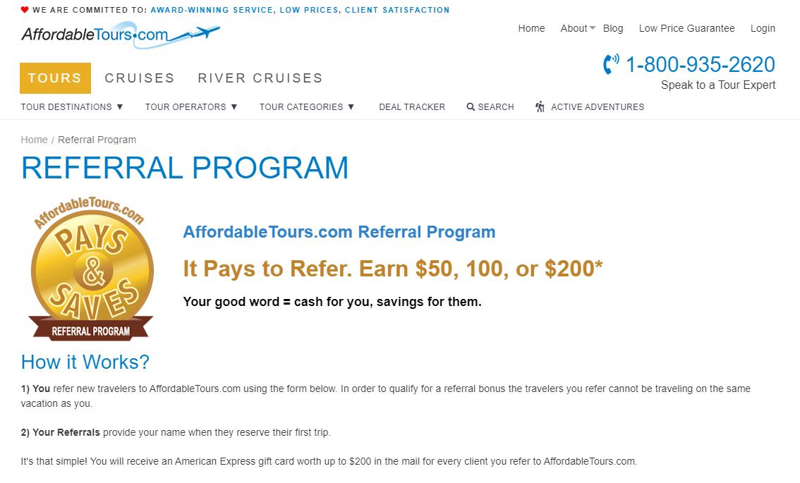 affordable tours referral program