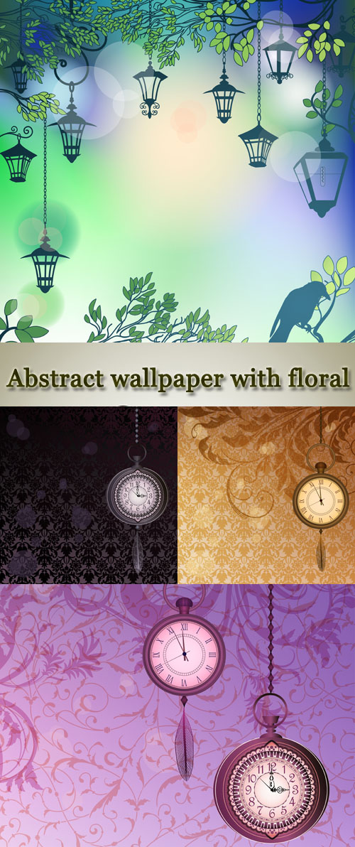 Stock: Abstract wallpaper with floral branches and pocket watches