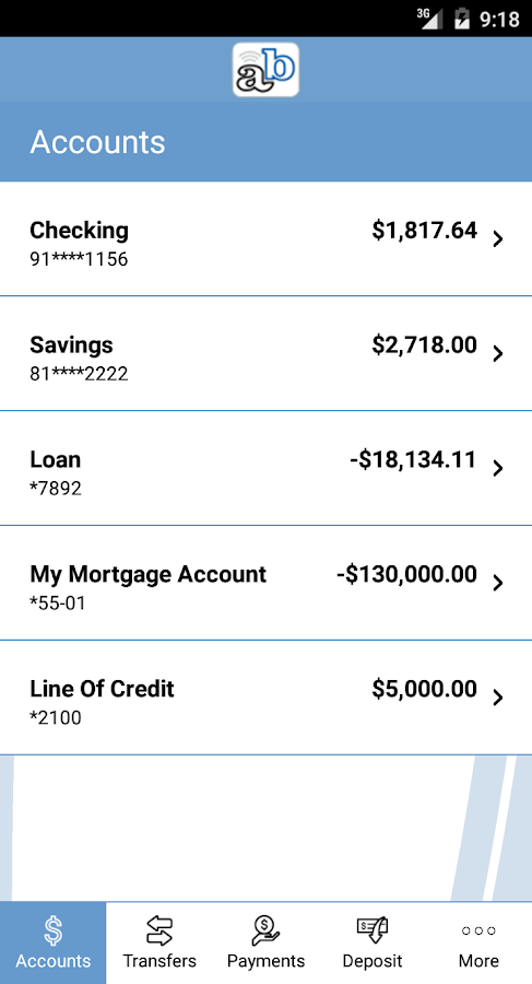Andover Bank Mobile- screenshot