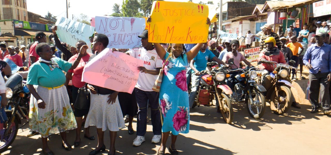 Gatundu residents protest over Moses Kuria. PHOTO | BMS