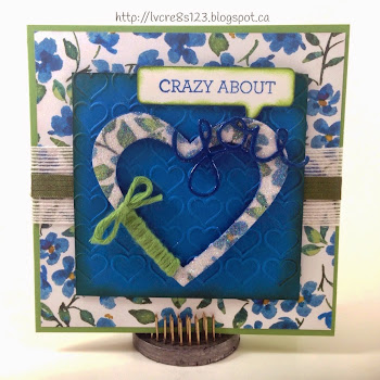 Linda Vich Creates: Painted Blooms Valentine.  Painted Blooms paper from Stampin' Up! provides the background for a delightful, twine-wrapped Valentine heart complete with Word Bubble sentiment and die cut from Hello You Thinlits.