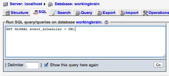 MySQL event create