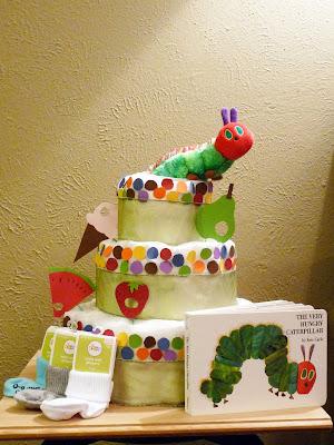 book themed diaper cake, hungry caterpillar diaper cake, gender neutral diaper cake