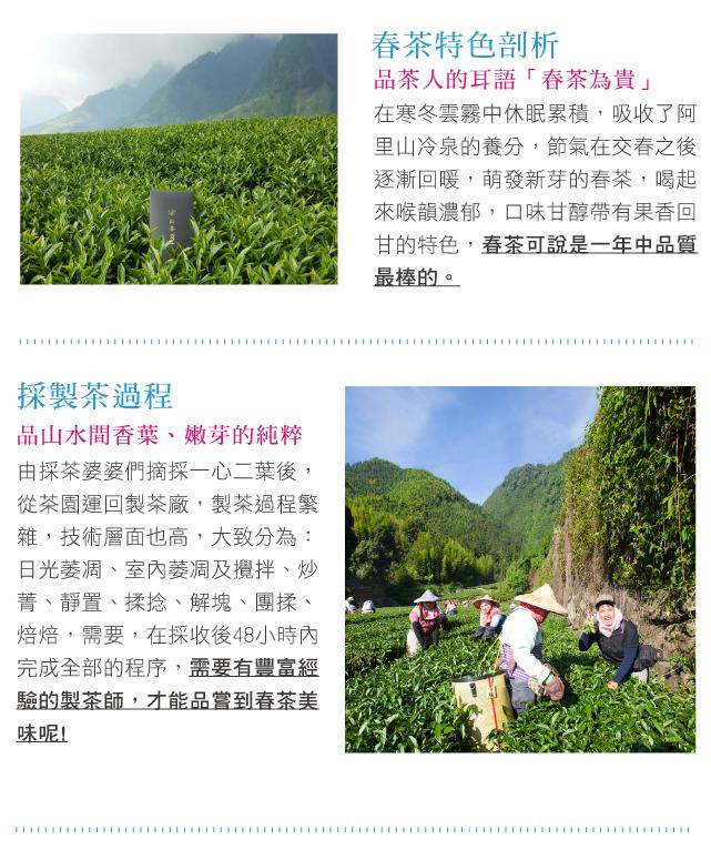 在寒冬雲霧中休眠累積,吸收了阿里山冷泉的養分,節氣在交春之後逐漸回暖,萌發新芽的春茶,喝起來喉韻濃郁,口味甘醇帶有果香回甘的特色,春茶可說是一年中品質最棒的。由採茶婆婆們摘採一心二葉後,從茶園運回製茶廠,製茶過程繁雜,技術層面也高,大致分為:日光萎凋、室內萎凋及攪拌、炒菁、靜置、揉捻、解塊、團揉、焙焙,需要,在採收後48小時內完成全部的程序,需要有豐富經驗的製茶師,才能品嘗到春茶美味呢!