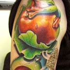 Fruit and frog - Arm Tattoos Designs