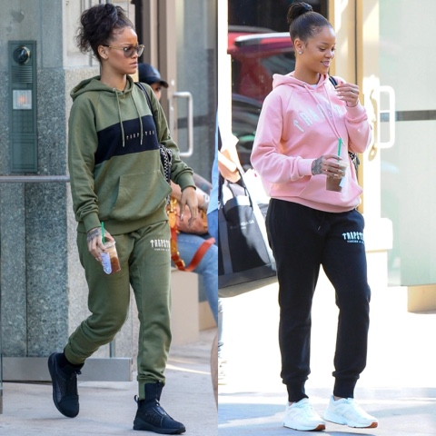 Rihanna wears Trapstar London hoodie and track bottoms