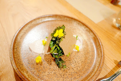 Farm Spirit Dinner in February 2016 - all vegan fine dining, this is Arugula raab, smoked walnut milk, raw croutons, herb stems, and itty bitty kale chips