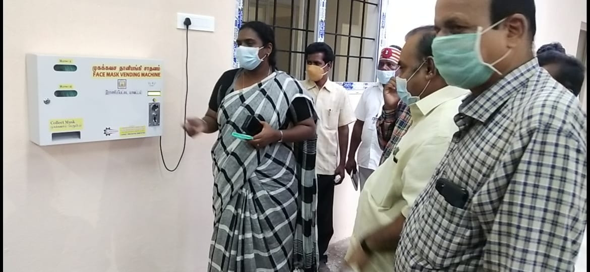Ranipet district collector launches automatic face mask vendor at ranipet collectorate