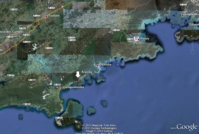 Localisation d'Arariba entre Paraty (RJ) et Caraguatatuba (SP)