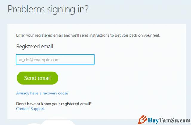 Điền email rồi nhấn vào
