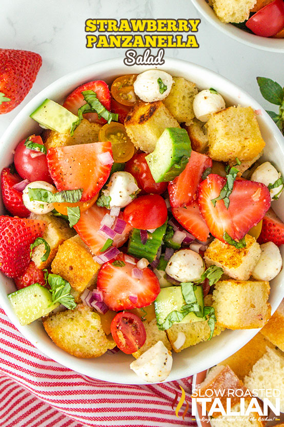 Panzanella Salad with strawberries in a bowl
