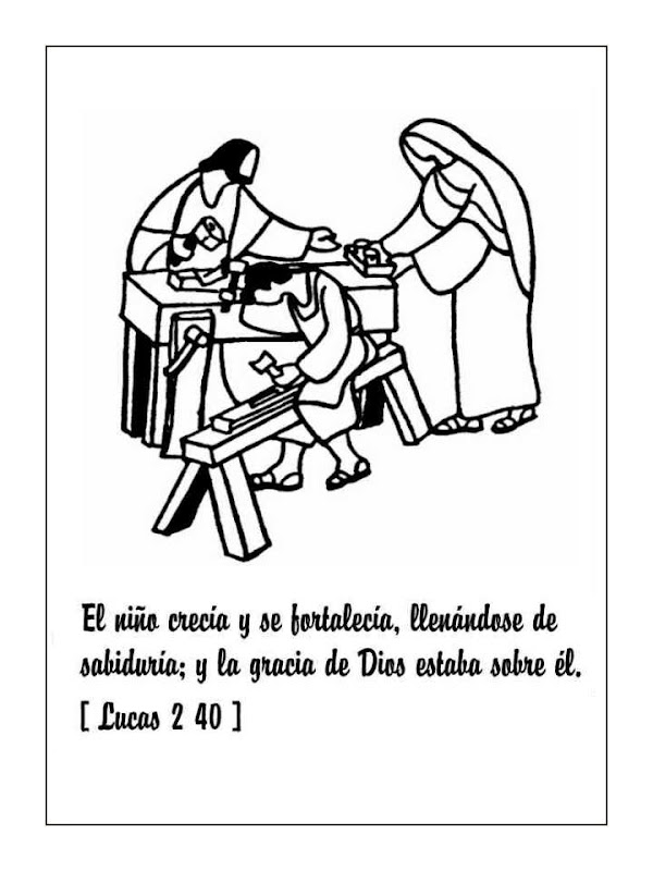 Dibujos Católicos : Infancia de Jesús para colorear