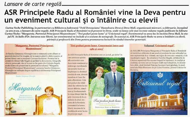 ASR Principele Radu al României va participa, la Deva, la un eveniment cultural şi o întâlnire cu elevii