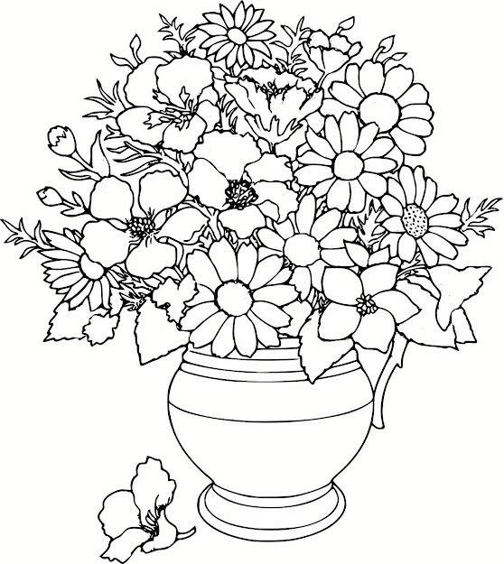 Flower Coloring Pages Printable With Big Flower Free Flowers For Kids