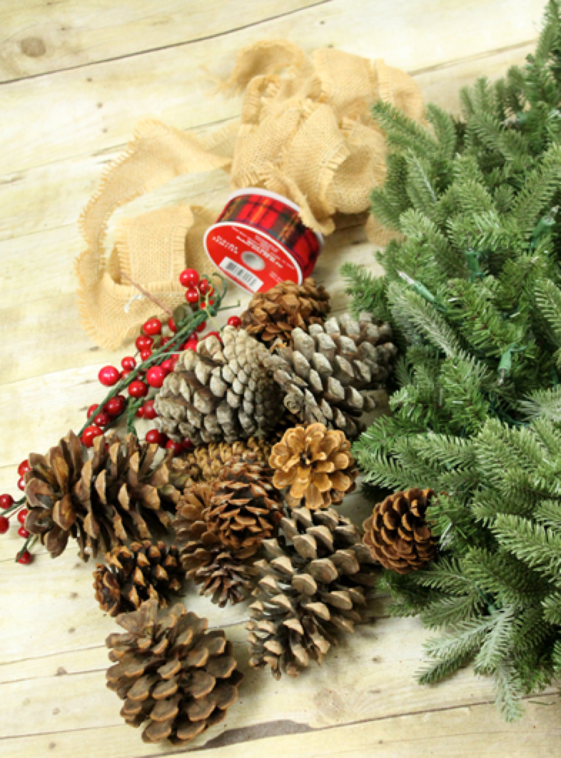 Pine Cones and Berries for Wreath