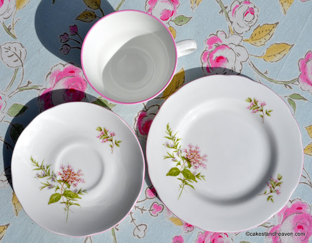 Delicate pink floral pattern English bone china
